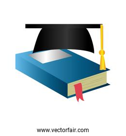books and graduation hat isolated icon