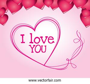 I love you colorful graphic