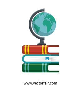 world planet with books school supply