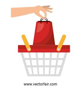 basket shopping with paper bags commercial icon