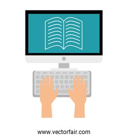 computer desktop with ebook isolated design