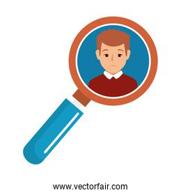 search magnifying glass with person avatar
