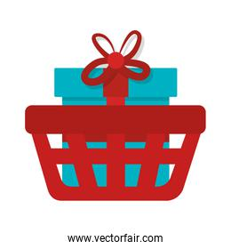 basket shopping with gift commercial icon