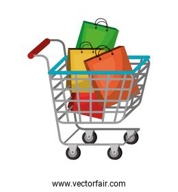 cart shopping with paper bag commercial icon