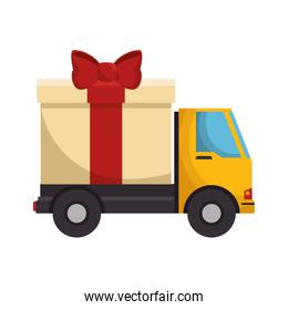 truck with giftbox present isolated icon