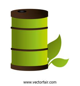 barrel with leafs ecology icon