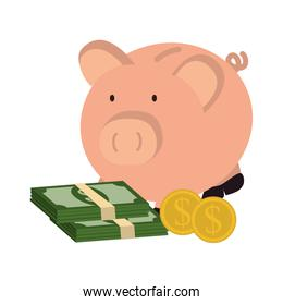 piggy with bills dollars money icon