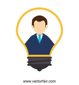 businessman avatar in light bulb isolated icon