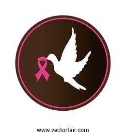 dove with ribbon pink breast cancer
