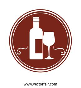 wine cup and bottle isolated icon