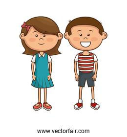 cute little couple kids characters