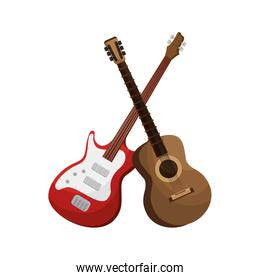 guitar acoustic and electric instrument isolated icon