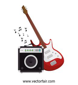 guitar electric and speaker instrument isolated icon