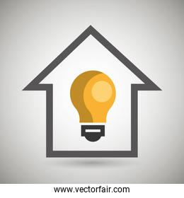 smart home with bulb  isolated icon design