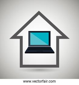 smart home with laptop isolated icon design