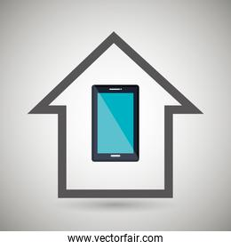 smart home with smartphone isolated icon design