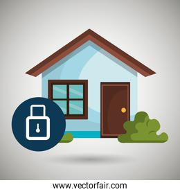 smart home with padlock  isolated icon design