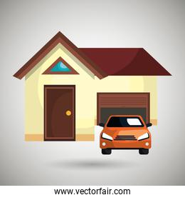 house with car in the garage isolated icon design