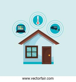 smart home with set services   isolated icon design