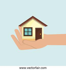 house in hand  isolated icon design