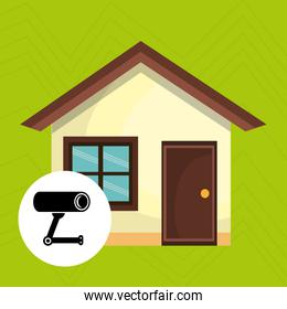 smart home with camera cctv isolated icon design