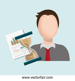 man with hourglass and statistics isolated icon design