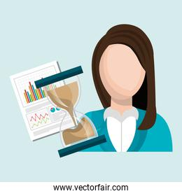 woman with hourglass and statistics isolated icon design