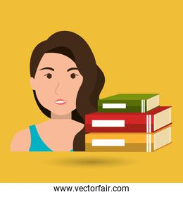 graduate student with  books isolated icon design