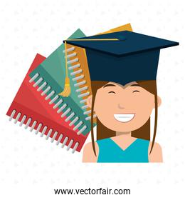 graduate student with books  isolated icon illustration