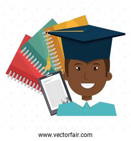 graduate student with books  isolated design