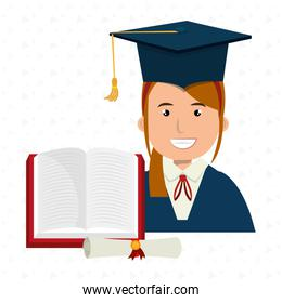 woman graduate student with book and diploma isolated