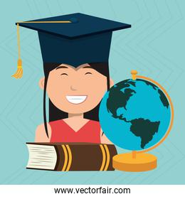 graduate student with book and planet  isolated icon design
