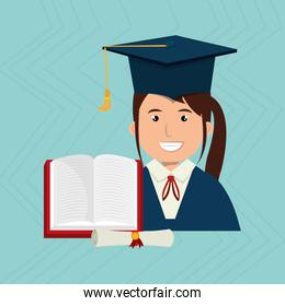 graduate student with  book and diploma isolated icon design