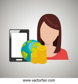 woman with smartphone and money isolated icon design
