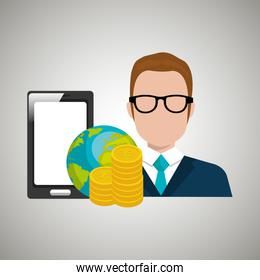 man with smartphone and money isolated icon design