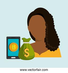 person with smartphone and coin isolated icon design