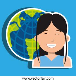 avatar with planet earth isolated icon design
