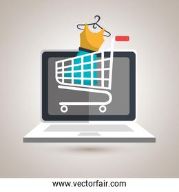 e-commerce from laptop isolated icon design