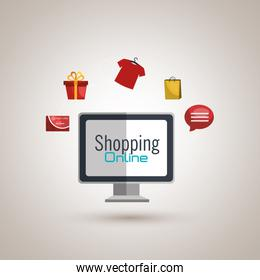 e-commerce from computer isolated icon design