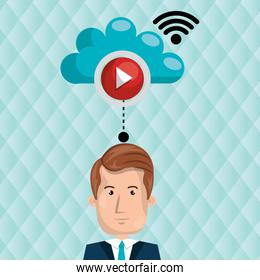 user watching videos in the cloud isolated icon design