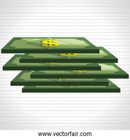dollar bills isolated icon design