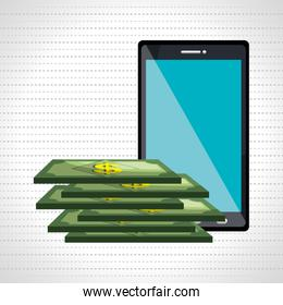 money online from smart phone isolated icon design