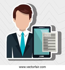 businessman with smartphone isolated icon design
