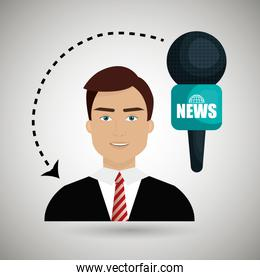man journalist news microphone