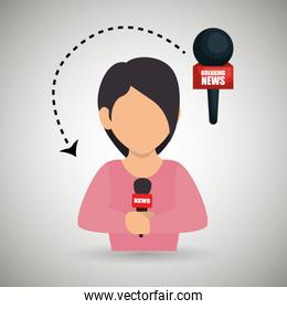 woman journalist news microphone