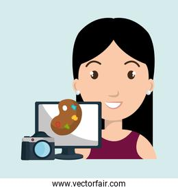 woman with desktop and  camera paint color