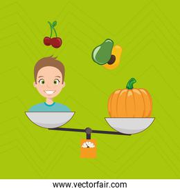 man cartoon vegetable organic balance