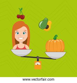 woman cartoon vegetable organic balance