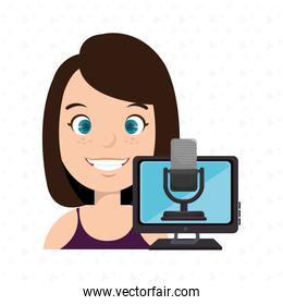woman cartoon speak microphone