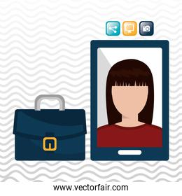 executive woman and cellphone isolated icon design